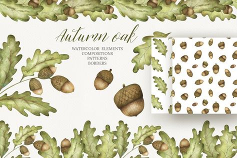 Watercolor acorn clipart (1346428) | Illustrations | Design Bundles