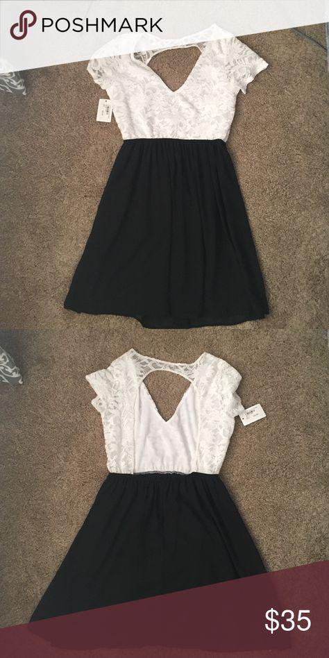 Black And White Lace Backless Dress Nwt My Posh Picks Pinterest
