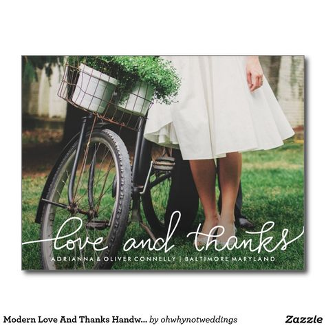 Modern Love And Thanks Handwritten | Couple Photo Postcard.  Personalize for free.