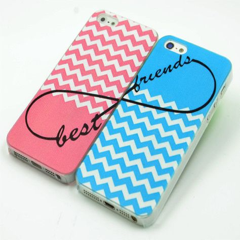 Pink Blue Chevron Infinity Sign Best Friends Set of Two (2) For iPhone 5C Case