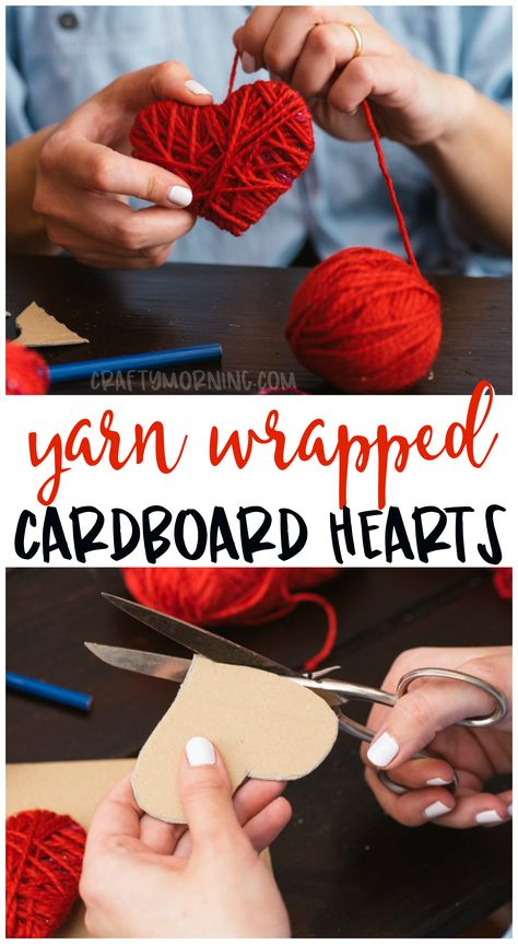 Make some cute yarn wrapped cardboard hearts for a valentines day craft idea! Kids valentine craft art project to make. Easy garland idea.