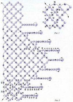схема колье уголок из бисера