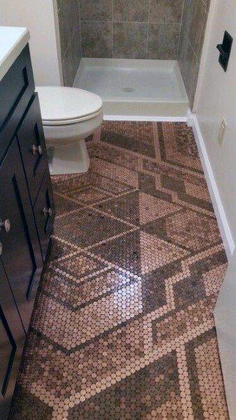 90 Garage Flooring Ideas For Men Paint Tiles And Epoxy Coatings Penny Floor Designs Penny Floor Floor Design