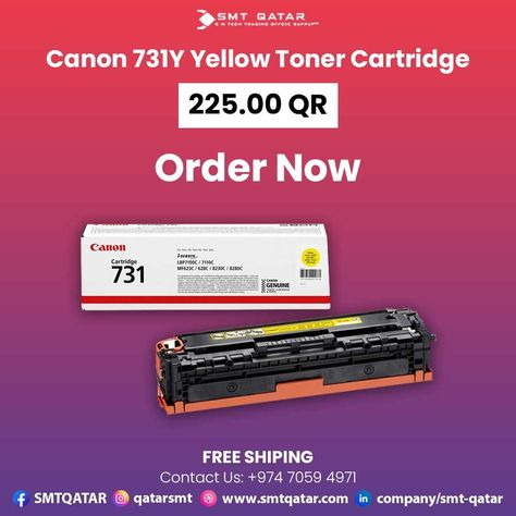 Canon 731Y Yellow Toner Cartridge with free shipping all over Qatar.