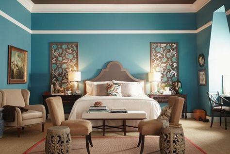 1001 Idees Pour Une Chambre Bleu Canard Petrole Et Paon Sublime Deco Chambre Bleu Deco Chambre Marron Chambre Bleu