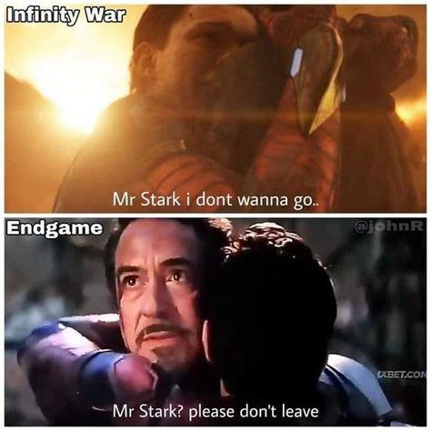 At last tony had gone. #avengers #marvel #ironman #spiderman #endgame #infinitywar