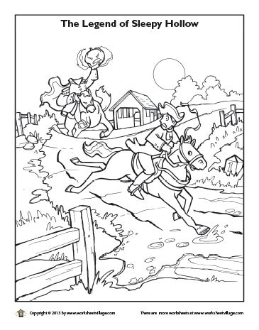 Headless Horseman Chasing Ichabod Crane Coloring Page Sleepy
