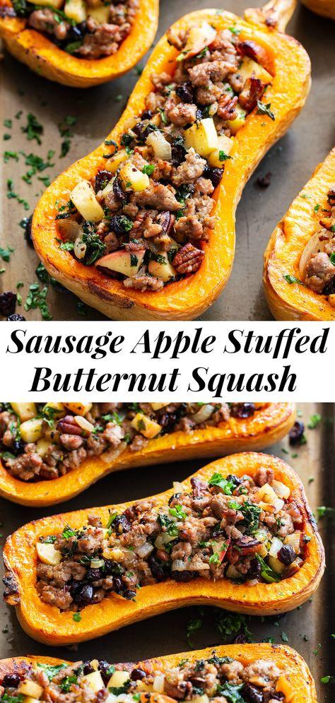 Sausage Stuffed Butternut Squash {Paleo, Whole30} |
