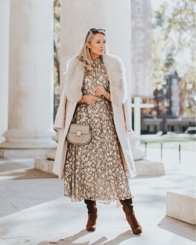 Christmas party ready in a printed Kate spade midi dress and faux fur collar - complete with Chloé Tess bag! http://liketk.it/2y2wW #liketkit @liketoknow.it