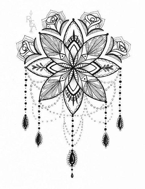 Mandala-Illustration - Tattoo Art - Stift und Tinte Drawing - 5 x 7-Giclée-Druck