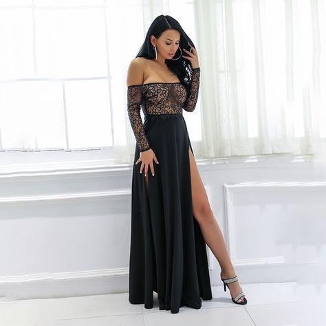 e545bc8c88 Yissang Elegant Women Maxi Boho Dress Off Shoulder Double Sexy High Slits  Beach Vestidos Black Shine Long Party Night Dresses