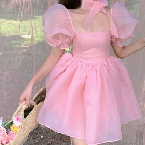 38.19US $ |Sweet Princess Kawaii Dress Women 2021 Summer Korean Soft Girl Square Collar Puff Short Sleeve Pink Fairy Dress Clothing Party|Dresses|   - AliExpress