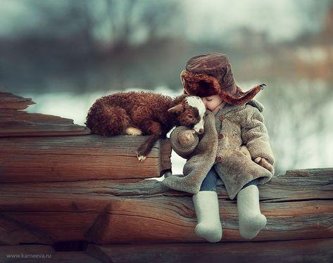 Photos of children and animals by Russian photographer Elena Karneeva