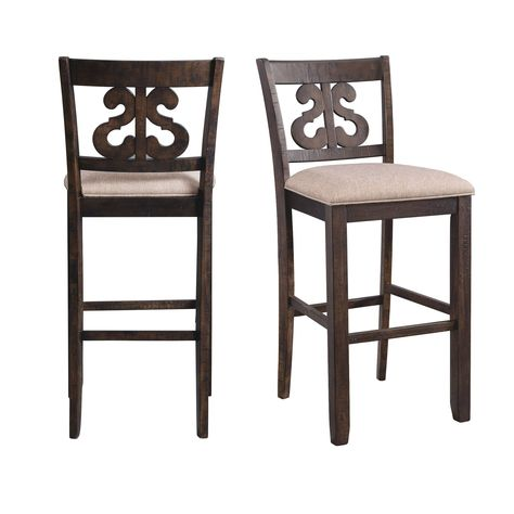 Picket House Furnishings Stanford 30 Inch Swirl Back Bar Stool Set