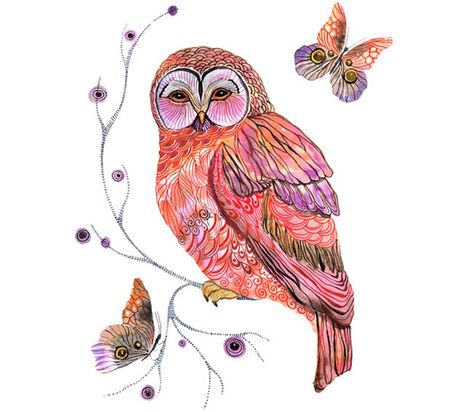 Items similar to Owl and butterfly, Owl butterfly, bird art, print size on Etsy
