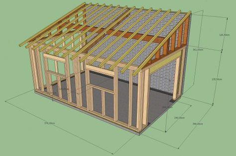 Creation D Un Garage Ossature Bois Monopente Contre Mur Mitoyen D Un Garage Deja Existant En Parpain Plan Cabane En Bois Ossature Bois Construction Maison Bois