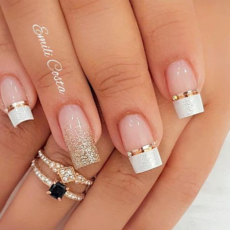 French Mani With Foil Stripes #glitternails #foilnails ❤️French manicure seems to be on the top all the time. Although, when you get too tired of the tradition it is time to come up with some new. Luckily, we have a nice and trendy compilation of all possible kinds of French tips to share at hand! ❤️ See more: https://naildesignsjournal.com/elegant-french-manicure-designs/ #naildesignsjournal #nails #nailart #naildesigns#frenchmanicure