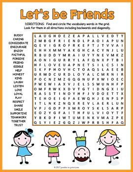 Friendship Word Search Puzzle   Friendship- values class ...