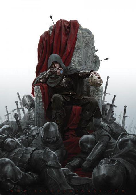 Illustration - man of throne with dead bodies around - Jason Chan