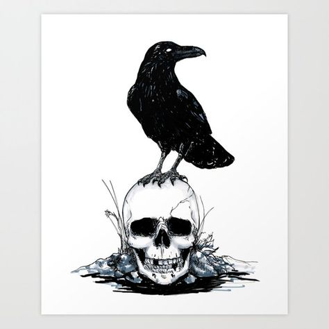 Inktober Skull and Raven Art Print by charlotteharper