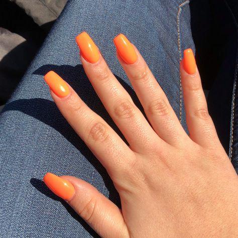 Orange Gel Acrylic nails in 2019