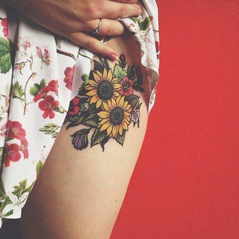 Tatuajes Flores Tatuaje Con Ramo De Flores Con Girasoles Y