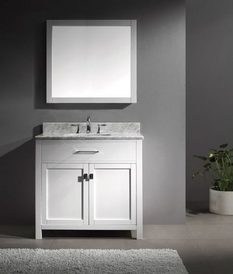 Virtu 36 Inch Caroline Bathroom Vanity In White With Italian