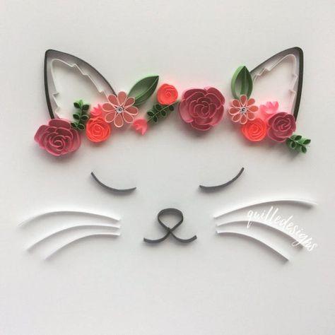 Flower Crown Cat Wall Art Summer Art Summer Birthday   Etsy
