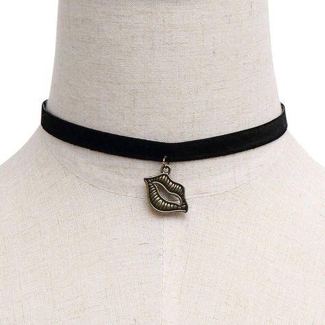Labios Colgante Velvet Ribbon Gargantilla - US$3.95 -YOINS