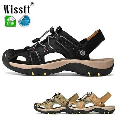 Mens Casual Leather Sandals Shoes Outdoor Walking Fisherman Slippers Closed Toe