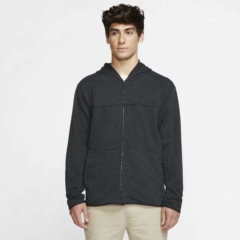 Males's Fleece Jackets Hurley Dri-FIT Naturals Males's Fleece Full-Zip Hoodie (Off Noir) 5 Scorching