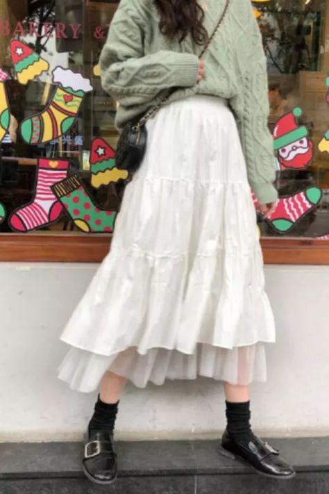 2021 Long Skirts For Women's Skirts Harajuku Korean Style White Black Maxi Skirt For Teenagers High Waist Skirt School Skirts