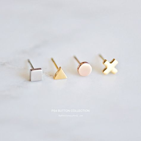Geometric Stud Earrings, mix and match SET - PS4 collection, single stud, stud earrings, minimalist stud earrings, tiny earrings, titanium