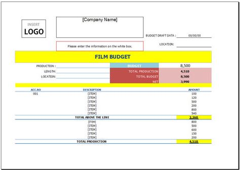 Free Film Budget Template For Excel Budget Template Budget Template Free Budgeting