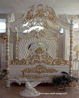 Himmelbett Bett Weiß Gold Barock Engel Barockbett Prunkbett - wandgestaltung gothic