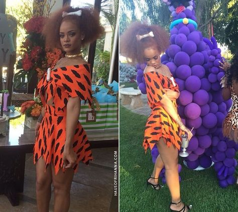 Rihanna celebrated her cousin's first birthday in a Flintstones outfit from Jeremy Scott's Spring 2010 collection and Manolo Blahnik sandals. Black Girl Halloween Costume, Badass Halloween Costumes, Celebrity Halloween Costumes, Halloween Outfits, Halloween Stuff, Halloween Party, Jeremy Scott, Rihanna, Flintstones Costume