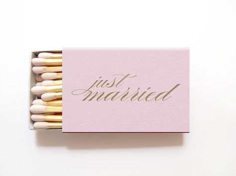 Just Married Custom Matchbox Wedding Favors - Foil Stamped Personalized Sparkler Matches, Wedding Fa