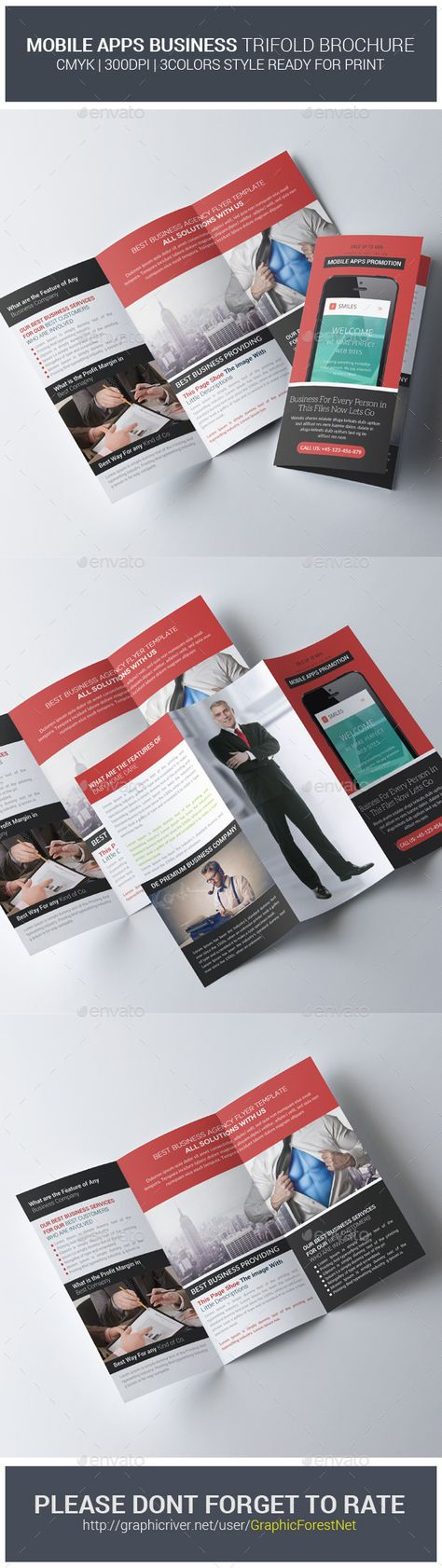 Apps Corporate Business Trifold Brochure Template PSD. Download here: http://graphicriver.net/item/apps-corporate-business-trifold-brochures/11309661?s_rank=1779&ref=yinkira