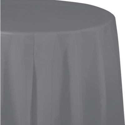 Gray Plastic Round Table Cover In 2020 Round Table Covers Round Tablecloth Table Covers