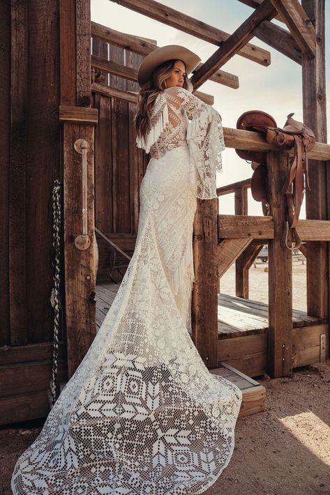 A sneak peak at the brand new modern and romantic boho wedding dress collections, Moonrise Canyon from Rue De Seine available exclusivley at our bridal shops. Western Wedding Dresses, Bohemian Wedding Dresses, Best Wedding Dresses, Wedding Gowns, Lace Wedding, Bohemian Weddings, Forest Wedding, Woodland Wedding, Indian Weddings
