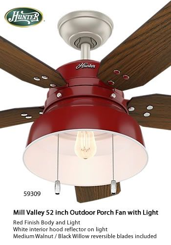 Hunter 59307 59309 Mill Valley 52 Inch Outdoor Porch Fan With