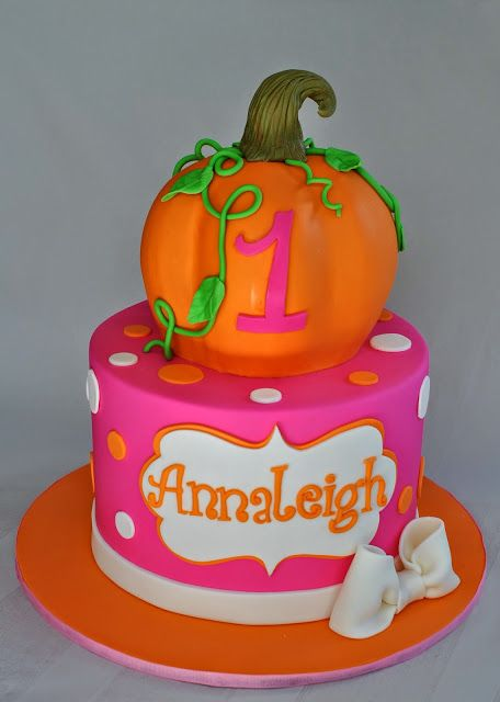 Orange and Pink Fall Festival Birthday Cake little pumpkin 1st