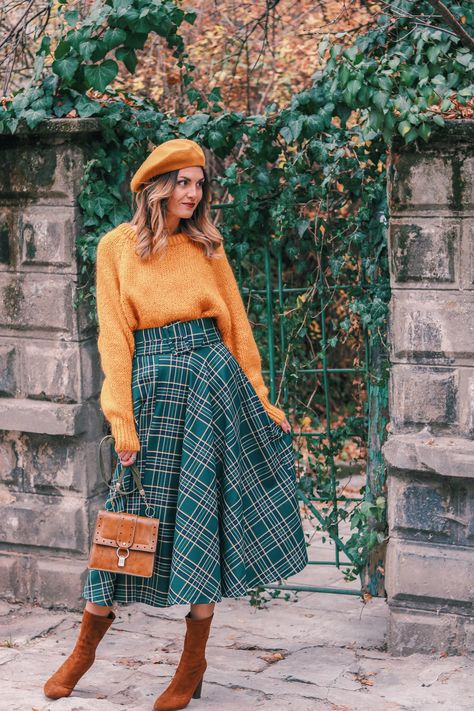 Yellow Sweater Plaid Skirt Beret Outfit