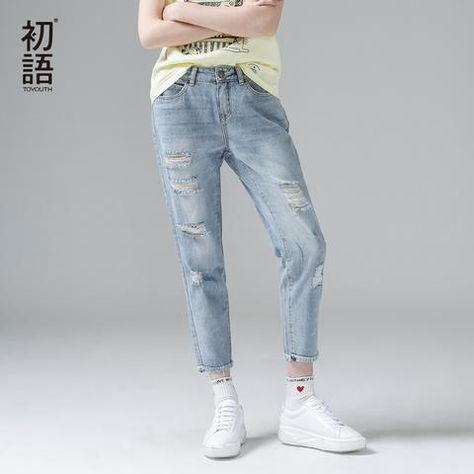 provide large selection of new concept 2019 best Women Ankle-Length Straight Ripped Jeans | Mallchicks ...