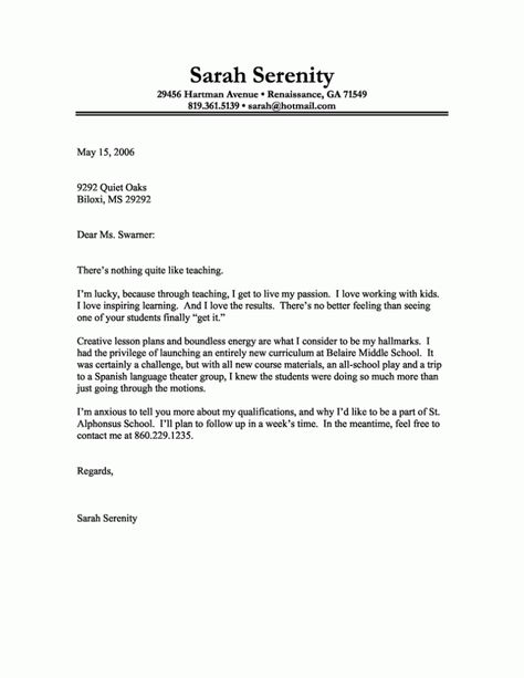 Teacher Resume Sample Cover Letter Resume Samples Pinterest - general cover letter examples for resume