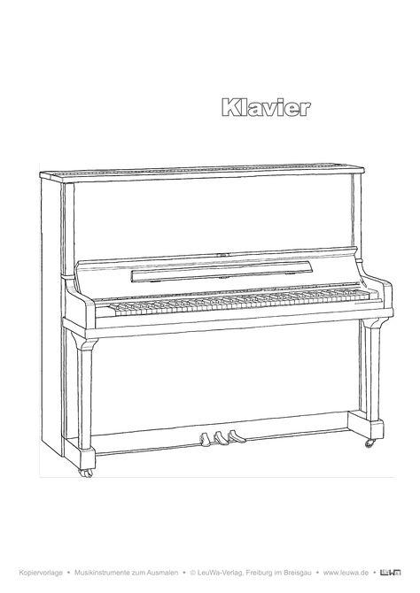 Musikinstrument Zum Ausmalen Klavier Unterrichtsmaterial In Den Fachern Kunst Musik In 2020 Musikinstrumente Musik Ausmalen