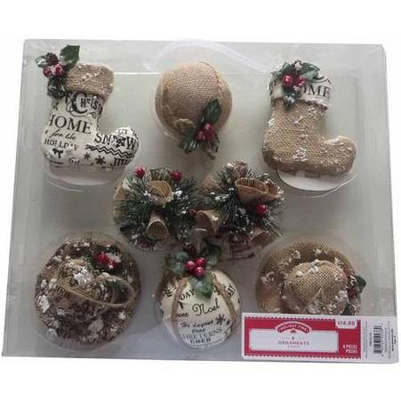 Holiday Time 8 Piece Cap And Stocking Christmas Ornaments Walmart Com Christmas Ornaments Ornaments Holiday Time