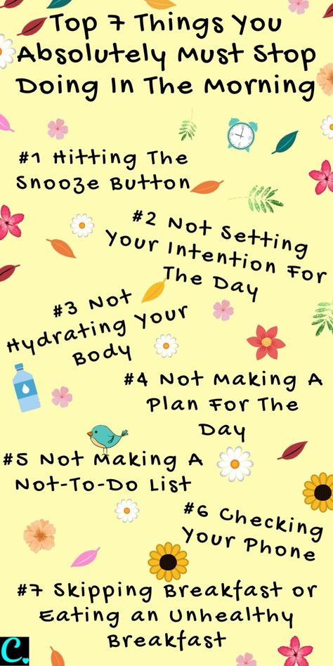 Morning habits to stop doing for a more productive day #habits #morninghabits #morningmotivation #productivity #productivitytips
