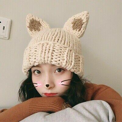 Lady Cat Ear Beanie Warm Winter Knitted Crochet Rabbit Ears Cat Eared Beanie Hats