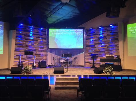 Small Modern Church Stage Design Glowing Stage Front Church